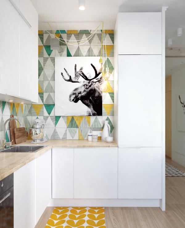 Kuhinja sa zanimljivim zidnim plocicama